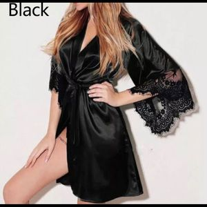 Sexy Black Satin Lace Babydoll Robe with a thong